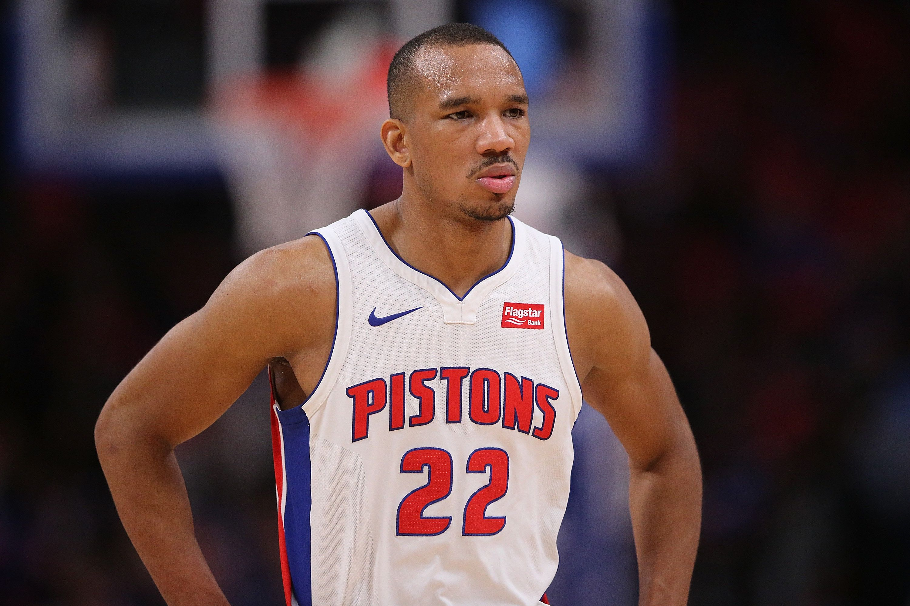 DETROIT, MI - NOVEMBER 29: Avery Bradley #22 of the Detroit Pistons looks to the bench during the second quarter of the game against the Phoenix Suns at Little Caesars Arena on November 29, 2017 in Detroit, Michigan.  Detroit defeated Phoenix 131-107. NOTE TO USER: User expressly acknowledges and agrees that, by downloading and or using this photograph, User is consenting to the terms and conditions of the Getty Images License Agreement (Photo by Leon Halip/Getty Images)