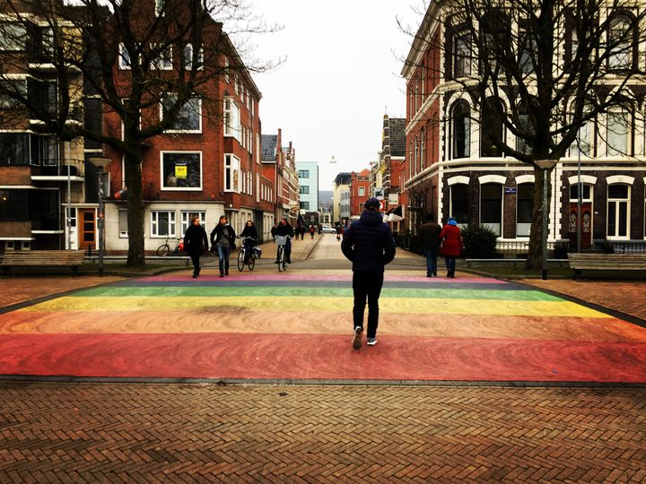 Rainbow crossing in the Netherlands.