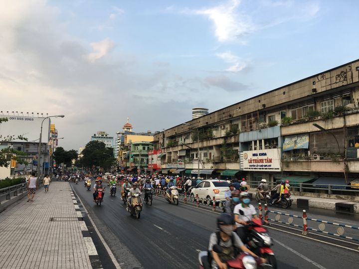 Busy boulevard in Vietnam.