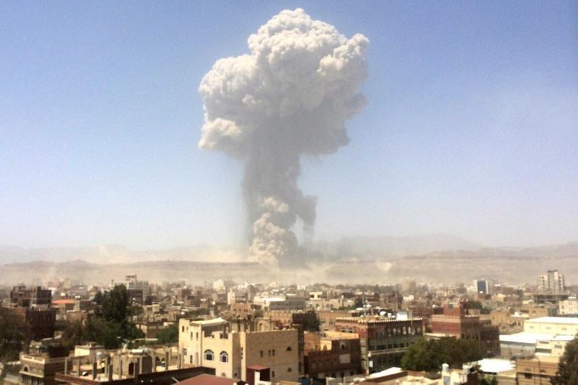 A Saudi air strike hits Yemen's capital city Sanaa. Saudi intervention in Yemen's civil war, heavily backed by President Dona