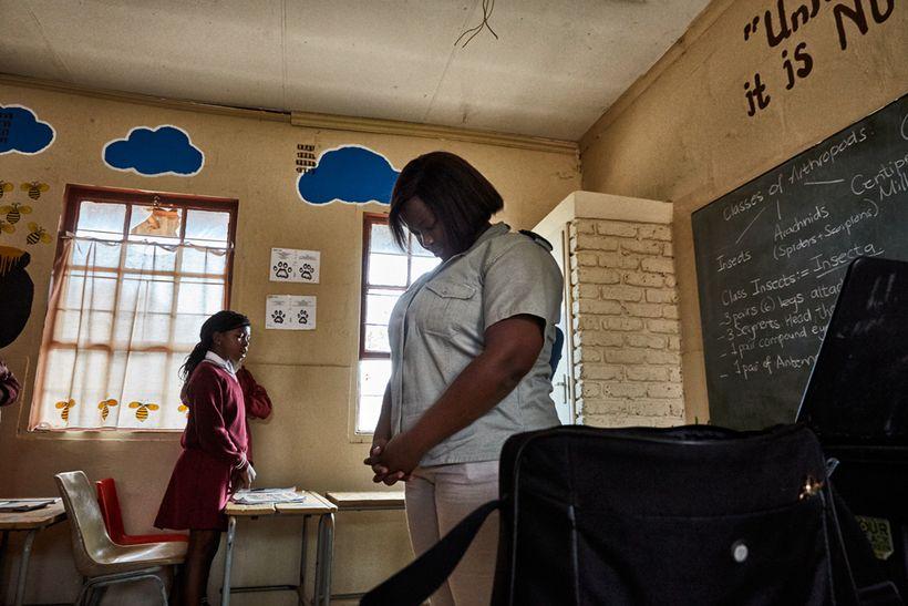 Morning prayer, Mhala Mhala Primary School, South Africa, 2017.