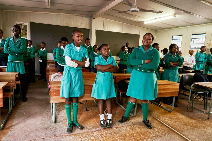 Morning prayer, Foskor Primary School, South Africa, 2017.