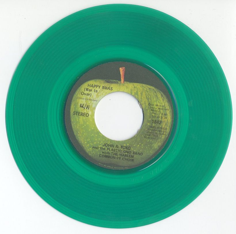"The limited edition green vinyl version of the ""Happy Xmas (War Is Over)"" single."