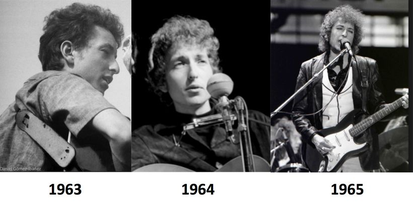 Bob Dylan at the Newport Folk Festival in 1963, 1964 and 1965