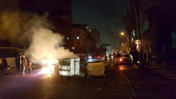 People protest in Tehran, Iran on December 30, 2017.