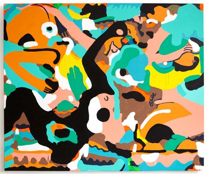 <p><em>Melting Pot</em>, 2017, House paint, acrylic and gouache on canvas, 50 x 60 in.</p>