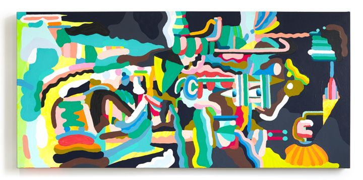 <p><em>The Future Is Coming</em>, 2017, House paint, acrylic and gouache on canvas, 30 x 64 in.</p>