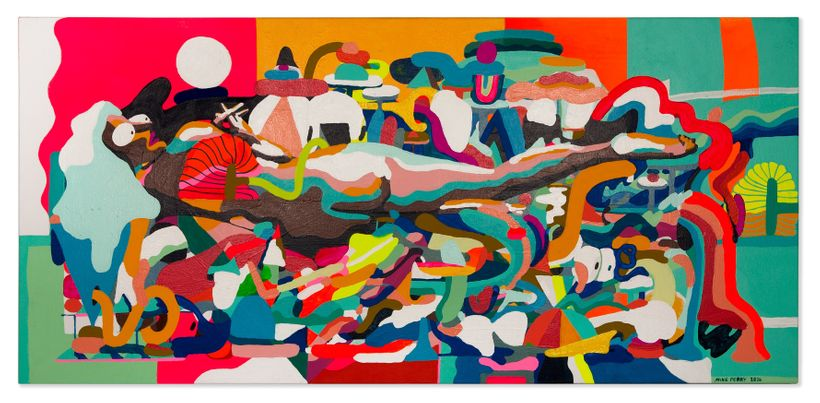<em>Sleep and Comets</em>, 2016, House paint, acrylic and gouache on canvas, 30 x 64 in.