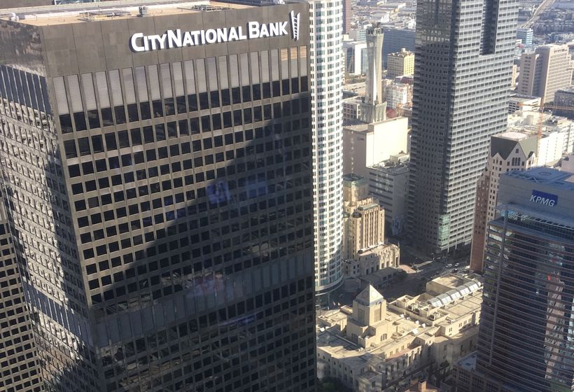 One of the former Arco towers is now the CityNational Bank. Below, the small pyramid is the LA Library.