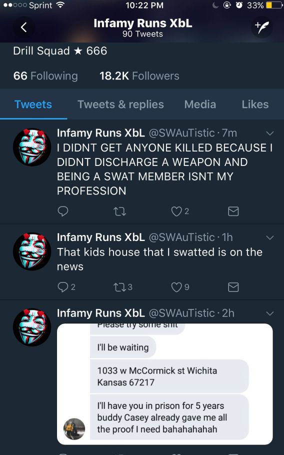 Twitter user @SWauTistic original tweets concerning the SWATting incident.
