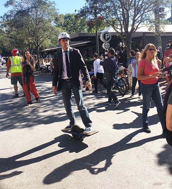 Miami Commissioner Ken Russell rode a sort of Hoverboard, but it wasn't a hoverboard.