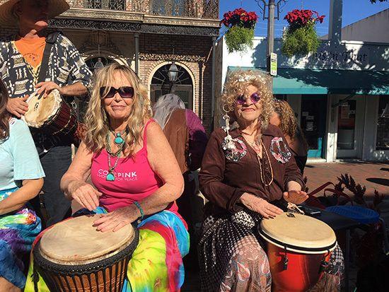 Karen Deilke and Liz Gibson, part of the Coconut Grove Drum Circle.