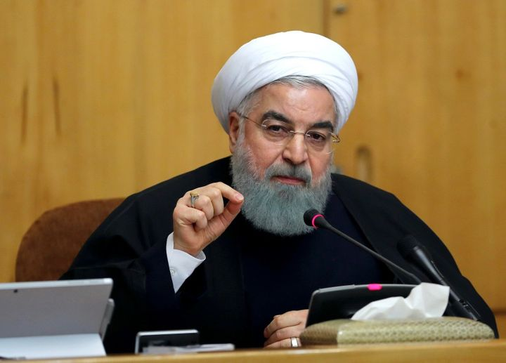 Iranian President Hassan Rouhani speaks during a cabinet meeting in Tehran on December 31, 2017.
