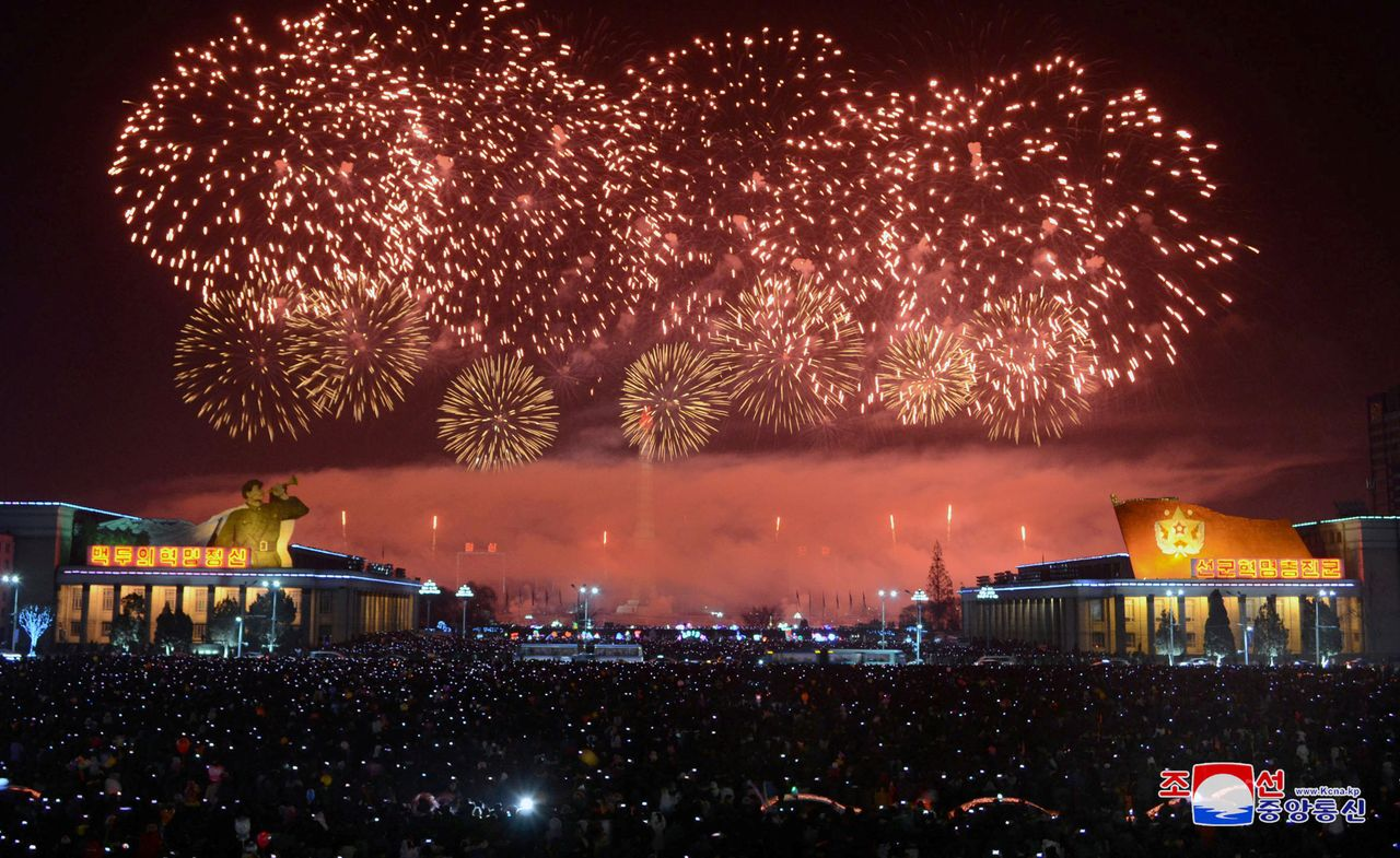 Fireworks are seen during New Year's celebrations in this photo released by North Korea's Korean Central News Agency (KCNA) in Pyongyang on January 1, 2018.
