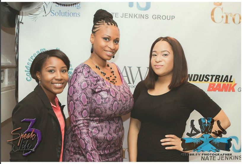 Speak Life Tour Gala, October 16, 2016. Left to right: Nia Rice, Catherine Trotter, and Megan Alston