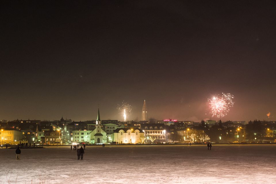 Fireworks are seen in Reykjavik on New Year's Day in Iceland on January 1,
