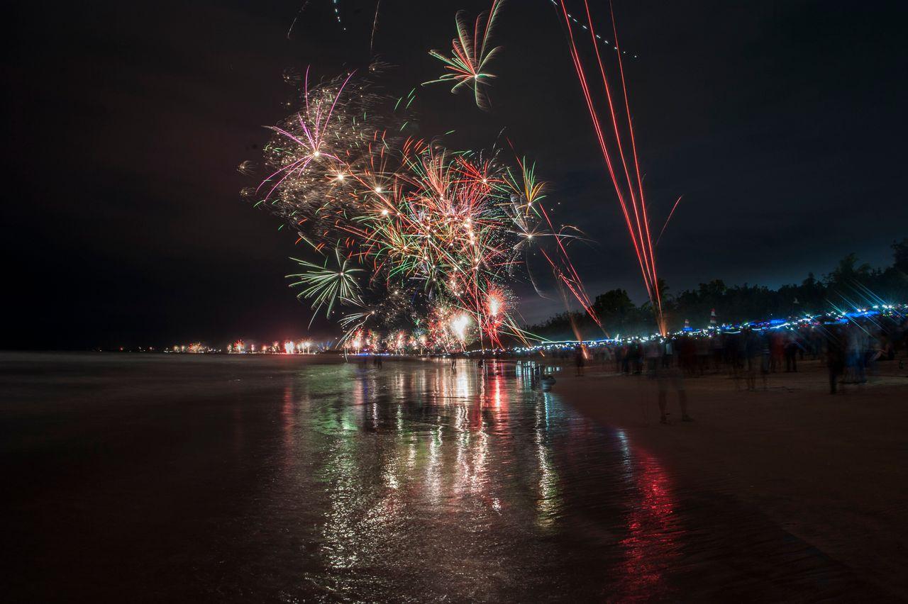 Festive fireworks welcome the new year at Kuta beach in Bali, Indonesia on January 1, 2018.