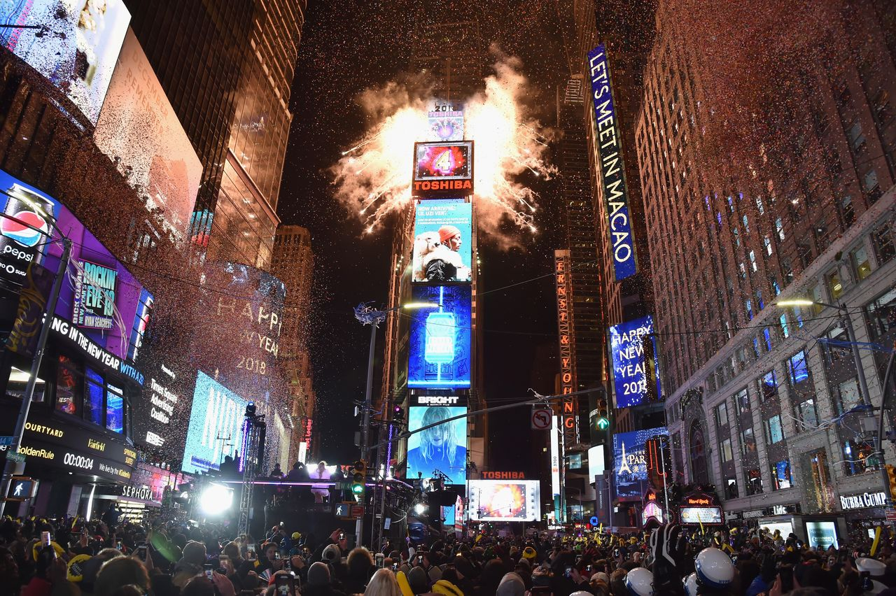 A view of Times Square on December 31, 2017.
