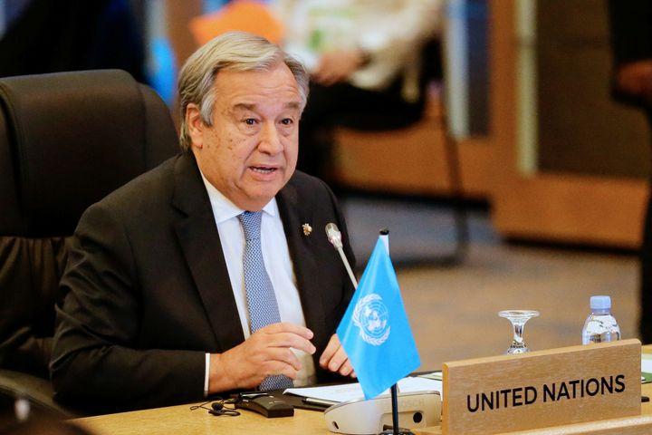 U.N. Secretary-General Antonio Guterres speaking during the 9th ASEAN UN Summit in Manila, Philippines,inNovember