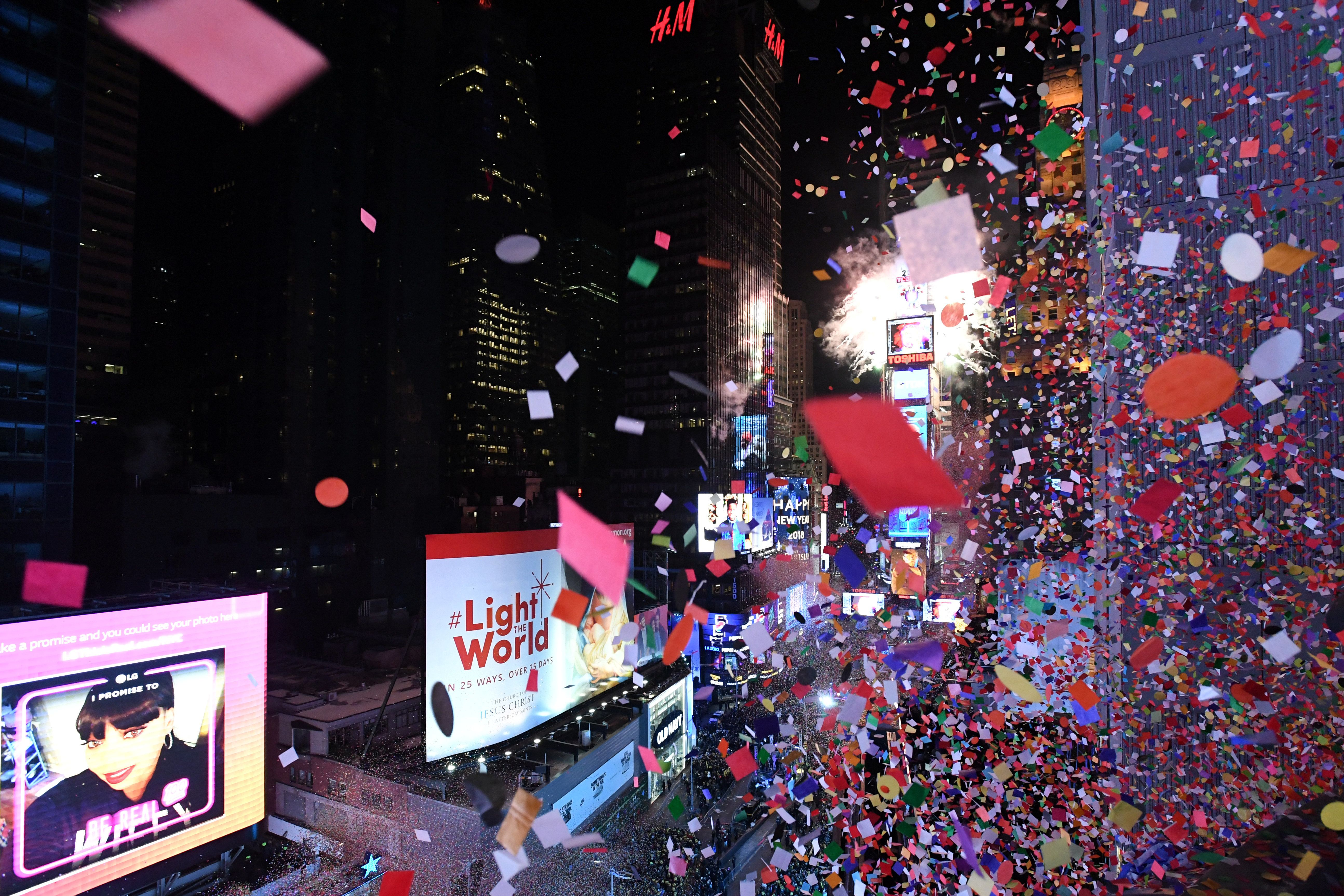 Confetti falls in Times Square just after midnight on January 1, 2018.