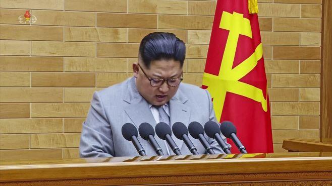 North Korean leader Kim Jong-un delivers his New Year's speech in North Korea on Monday, Jan. 1, 2018./ Source: capt