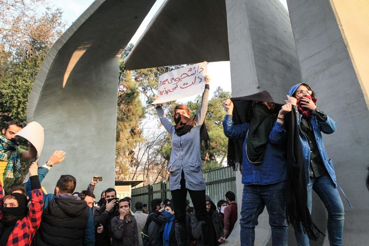 People gather to protest over high cost of living in Tehran, Iran on December 30, 2017. (Photo by Stringer/Anadolu Agency/Get