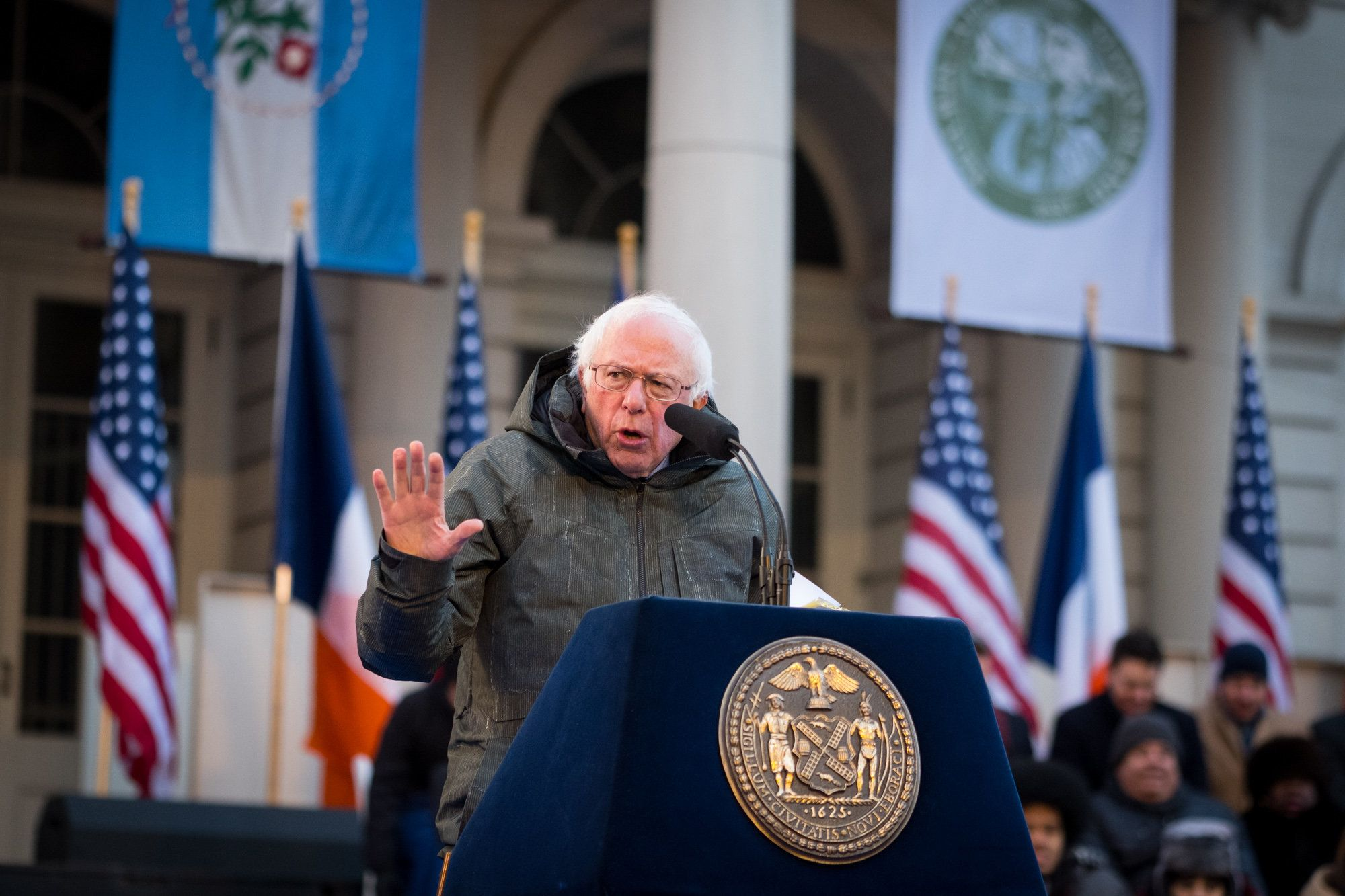 New York City Mayor Bill de Blasio is sworn in by United States Senator Bernie Sanders at the City of New York 2018 Inaugural Ceremonies on January 1, 2018 on the steps of City Hall. Edwin J. Torres/Mayoral Photography Office.