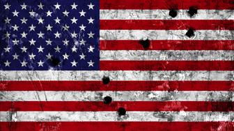 Flag of the United States of America, USA flag painted on metal with bullet holes
