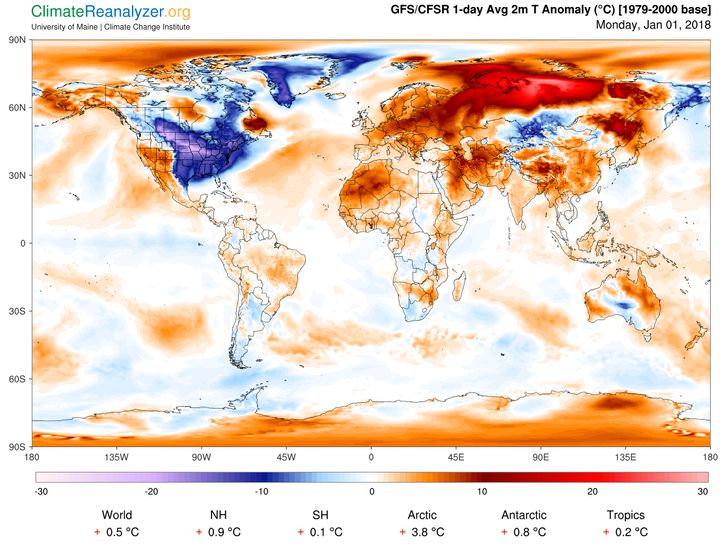 The frigid cold across much of the continental United States appears to be American Exceptionalism.