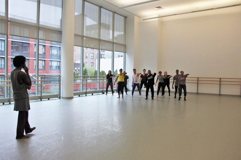 Cameron McKinney and students at The Ailey School as part of the New Directions Choreogaphy Lab