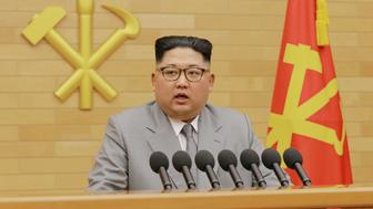 North Korea's leader Kim Jong Un speaks during a New Year's Day speech in this photo released by North Korea's Korean Central News Agency (KCNA) in Pyongyang on January 1, 2018. KCNA / via REUTERS     ATTENTION EDITORS - THIS PICTURE WAS PROVIDED BY A THIRD PARTY. REUTERS IS UNABLE TO INDEPENDENTLY VERIFY THE AUTHENTICITY, CONTENT, LOCATION OR DATE OF THIS IMAGE. NO THIRD PARTY SALES. NOT FOR USE BY REUTERS THIRD PARTY DISTRIBUTORS. SOUTH KOREA OUT.     TPX IMAGES OF THE DAY
