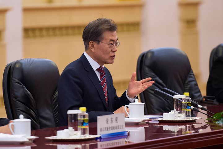 South Korean President Moon Jae-In is pictured on Dec. 15, 2017.