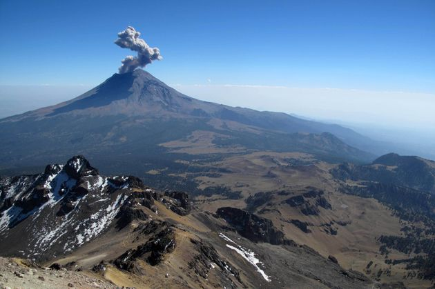 ctive Popocatepetl volcano in Mexico, one of the highest mountains in the
