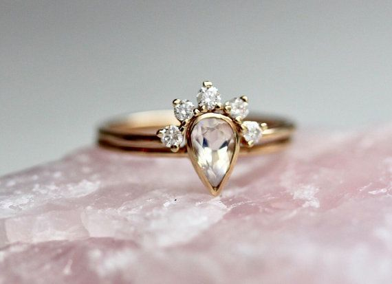 unusual non set il market wedding unique diamond engagement gold etsy rose bridal nontraditional band solid rings ring