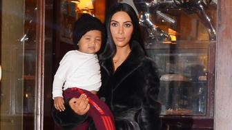 NEW YORK, NY - FEBRUARY 01:  (L to R) Saint West, television personality Kim Kardashian West, and North West are seen in Soho  on February 1, 2017 in New York City.  (Photo by Raymond Hall/GC Images)