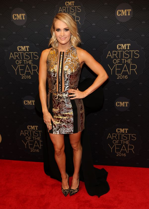 On thered carpet at CMT Artists of the Year 2016 at Schermerhorn Symphony Center on Oct. 19, 2016 in Nashville, Tenness