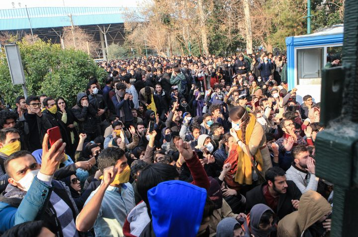 Iranian students protest at the University of Tehran on Dec. 30.