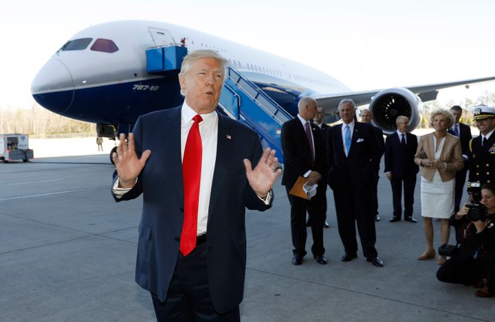 President Donald Trump speaks after touring a Boeing 787-10 Dreamliner in North Charleston, South Carolina, Feb. 17, 2017.