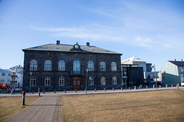 The Icelandic Parliament building in Reykjavik,