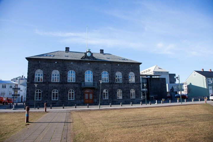The Icelandic Parliament building in Reykjavik, Iceland.