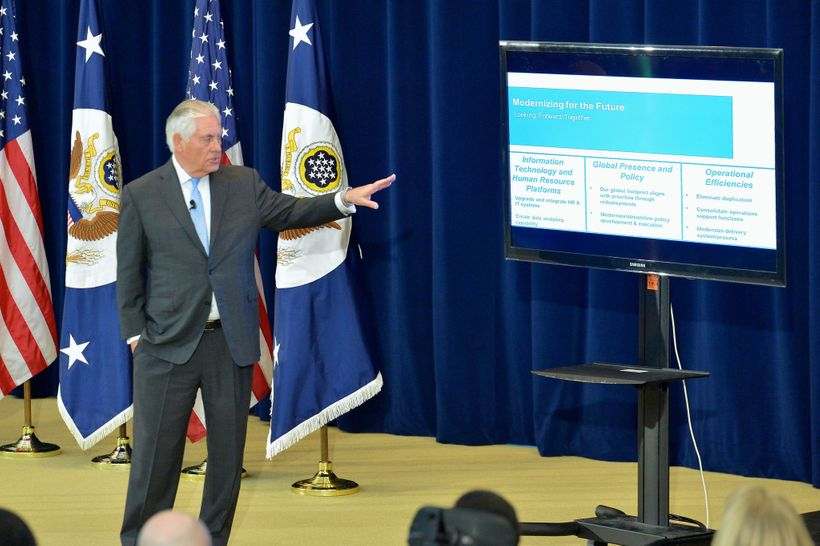 Secretary of State Rex Tillerson held an employee town-hall meeting in December.
