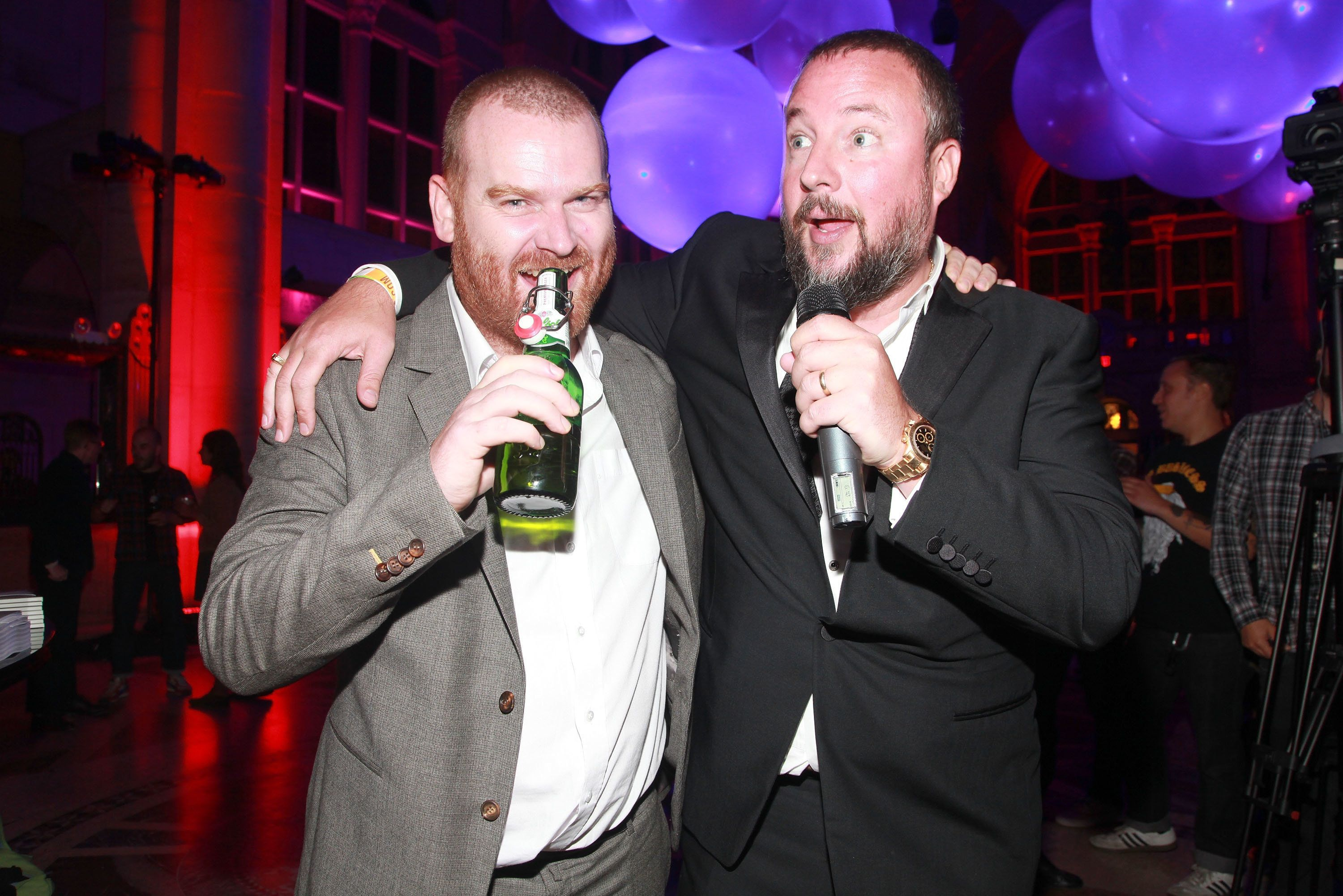 NEW YORK, NY - SEPTEMBER 15: (L-R) Andrew Creighton, President of VICE Media Group and Shane Smith, Founder of VICE  pose for photos during the Vice.com Launch Party at Skylight One Hanson on September 15, 2011 in the Brooklyn borough of New York City.  (Photo by Astrid Stawiarz/Getty Images)