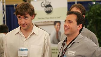 THE OFFICE -- 'The Convention' Episode 2 -- Aired 9/28/06 -- Pictured: (l-r) John Krasinski as Jim Halpert, Steve Carell as Michael Scott  (Photo by Justin Lubin/NBC/NBCU Photo Bank via Getty Images)