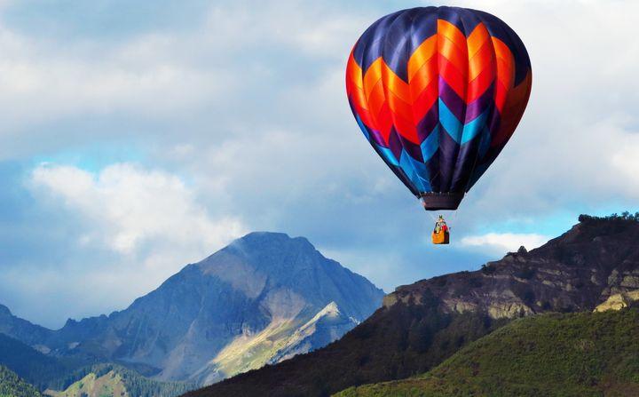 A hot air balloon takes to the airnear Aspen, Colorado, during the annual Snowmass Balloon Festival in September.