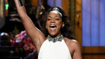 SATURDAY NIGHT LIVE -- Episode 1730 -- Pictured: Host Tiffany Haddish during the Opening Monologue in Studio 8H on Saturday, November 11, 2017 -- (Photo by: Will Heath/NBC/NBCU Photo Bank via Getty Images)