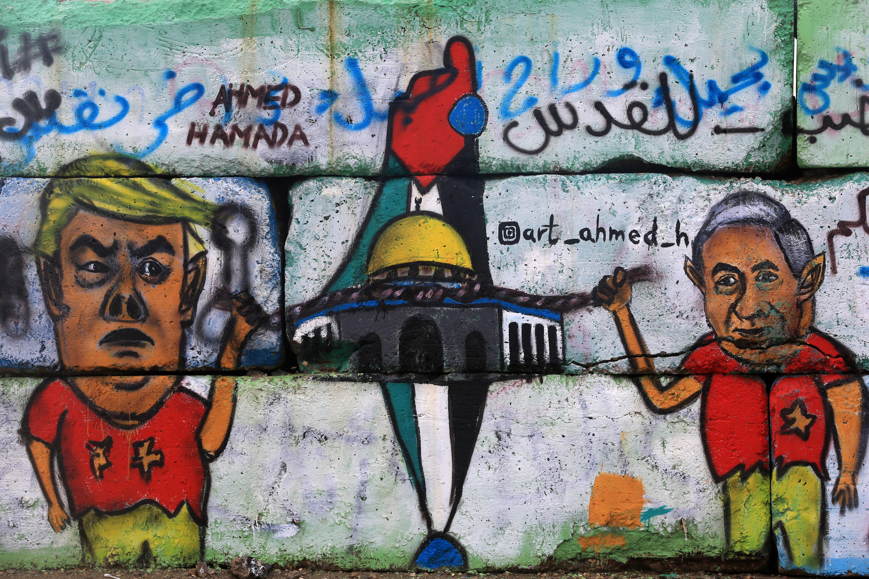Amural in Gaza depicts U.S.President Donald Trumpwith Israeli President Benjamin Netanyahu in Israel. Trump