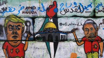 A mural on the wall of the seaport Gaza, Palestine, on 2 January 2018,  shows US President Trump, Israeli Prime Minister Netanyahu, a map of Palestine and Jerusalem. (Photo by Momen Faiz/NurPhoto via Getty Images)