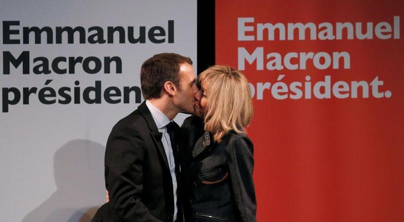 French President Emmanuel Macron and his wife, Brigitte. Brigitte is 24 years older than her husband.