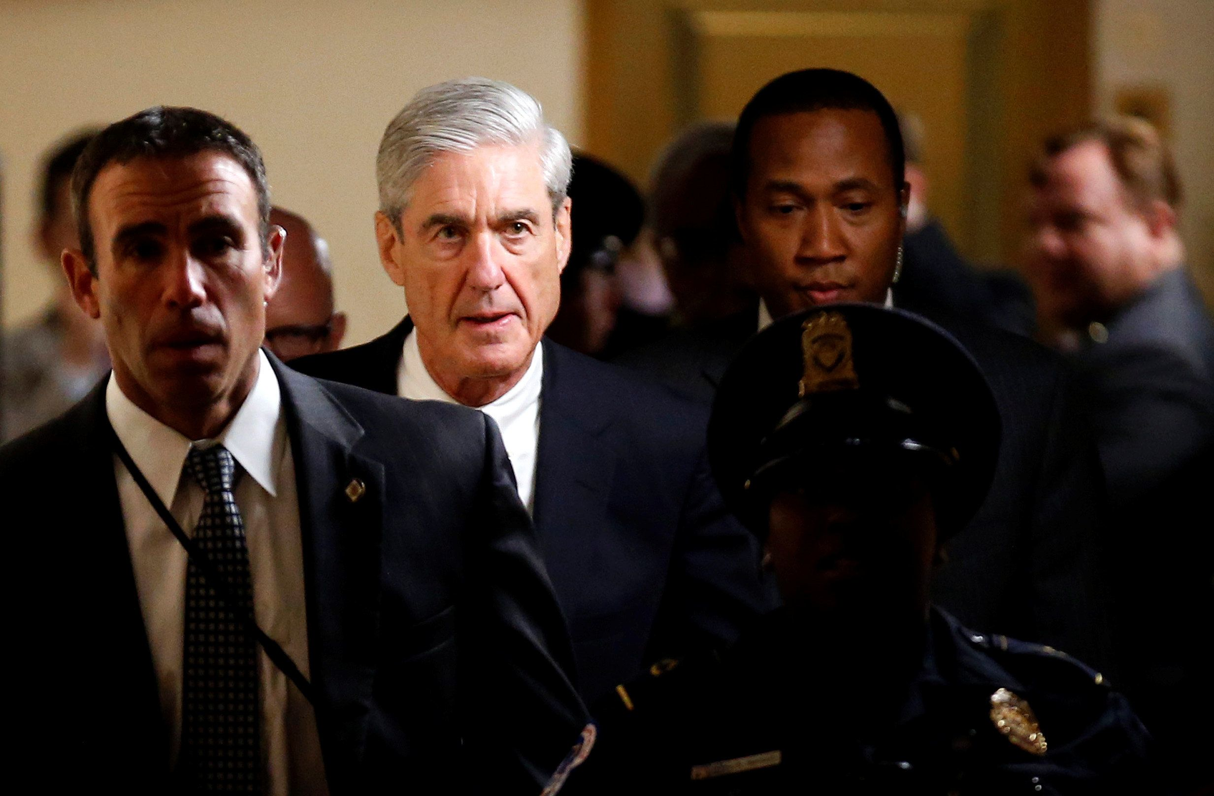 Special counsel Robert Mueller leaves the Capitol after briefing members of the U.S. Senate about his investigation on J