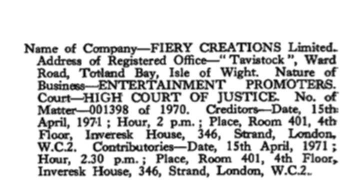 """<strong><em>The public notice of the Creditors meeting for the bankruptcy of """"Fiery Creations Limited"""" in London on April 15t"""